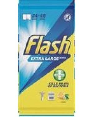 Flash Antibacterial Wipes Lemon 24s
