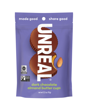 Unreal Candy Dark Chocolate Almond Butter Cups Bag 3.2oz (91g)