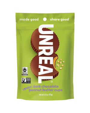 Unreal Candy Dark Chocolate Peanut Butter Cup With Crispy Quinoa 4oz (113g)