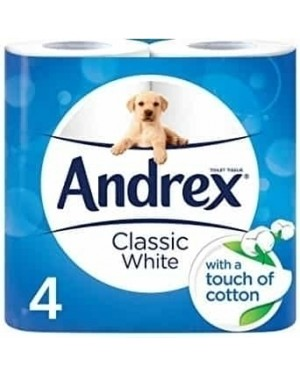 Andrex White Toilet Paper Classic Clean 4 Rolls