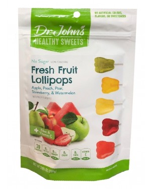 Dr John's Healthy Sweets Sugar Free Fresh fruit Collection Lollipops 15's