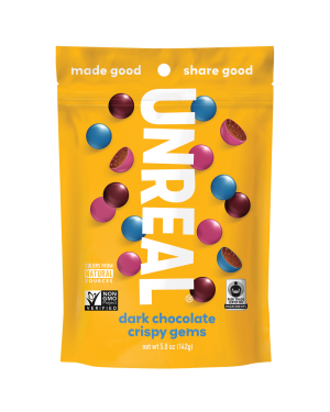 Unreal Candy Dark Chocolate Crispy Gems Bag 5oz (142g)